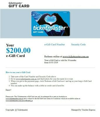 Ticketmaster $200 Gift Card