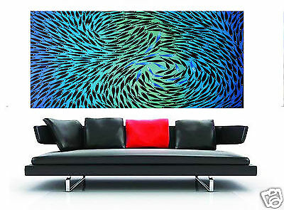 Large Art Painting Landscape Modern Fish aqua blue 150cm By Jane