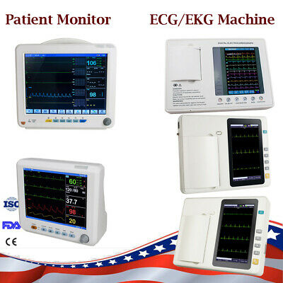 Multi 3 6 Channel 12Lead Electrocardiograph ECG/EKG/ Patient Monitor 6 Parameter