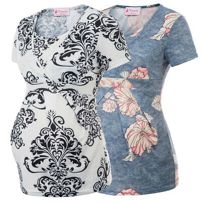 Women Maternity Breastfeeding Nursing Tops Floral Short Sleeve T-shirt
