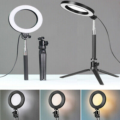"8"" SMD LED Ring Light Dimmable 5500K Continuous Lighting makeup Photo Video Kit"