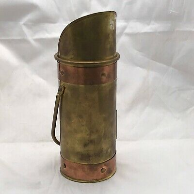 Vintage Brass Copper Fireside Match Holder Striker Coal Scuttle Trench Art Style