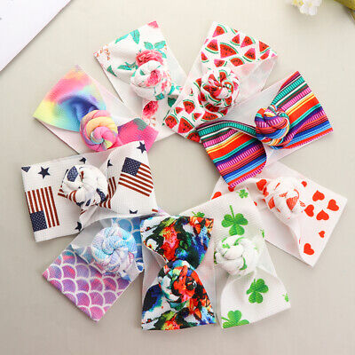 Newborn Baby Headband Infant Girl Hair Band Bohemia Printed Knotted Turban