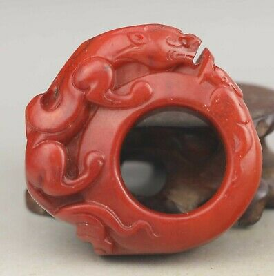 Chinese old natural jade hand-carved dragon ring pendant 2 inch