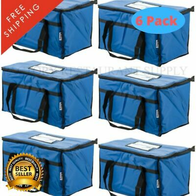 "6 Pack Insulated Food Delivery Bag Full Pan Carrier Blue Nylon 23"" x 13"" x 15"""