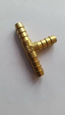 WEBER WEBBER BRASS 'T' PIECE FOR 8mm FUEL PETROL HOSE PIPE