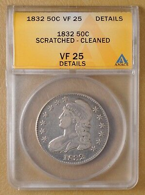 1832 Capped Bust Half Dollar ANACS VF 25 Details