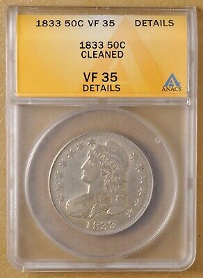 1833 Capped Bust Half Dollar ANACS VF 35 Details