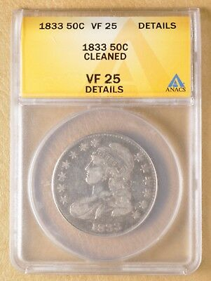 1833 Capped Bust Half Dollar ANACS VF 25 Details