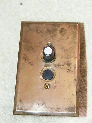 Antique Single Pole Push Button Light Switch, Solid Brass Plate, Cast Iron Box