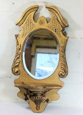 Antique Mirrored Wall Sconce Large Edwardian Carved Gilt Wood Queen Anne Style