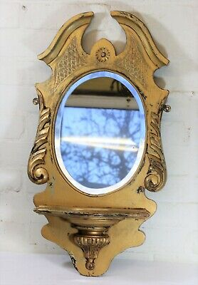 Antique Mirrored Wall Sconce Large Edwardian Carved Gilt Wood Queen Anne Style 2