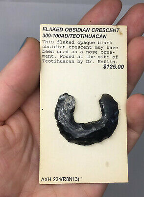 Teotihuacan Pre-Columbian Obsidian Crescent Nose Plug Jewelry Artifact Ancient