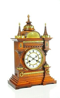 Gorgeous Antique German Junghans Mantel Clock with Brass approx.1890