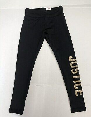 "New! Justice Girls Legging Pants Black Color Gold Giltter ""JUSTICE"" Size 7,8,10"