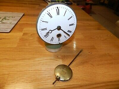 Antique French Drum Mantle Clock Movement - good working order with pendulum.