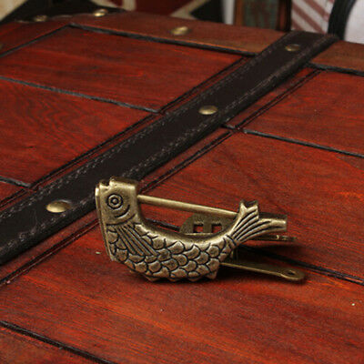 Retro Creative Fish Shaped  Wooden Case Chinese Style Lock Matlock Y2