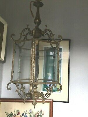Antique French Ornate Gilt Brass Hanging Large Porch Lantern Chandelier Light