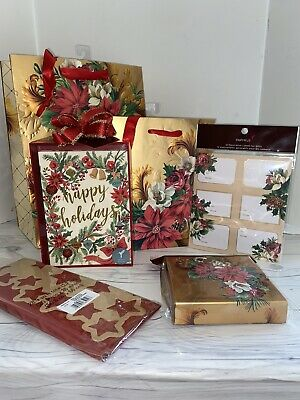 Papyrus Gift Bags Christmas Cards Lot Gift Tags Labels Poinsettia Lot Gold New