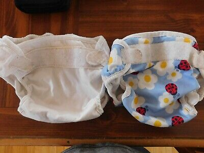 Bummis Size Large Diaper Covers for Cloth Diapers Lot Of 2 Blue Lady Bug & White