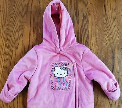 Hello Kitty Girls 6-9M Snowsuit Pink Winter Warm-Up Hooded Footed Fleece 1-Pc
