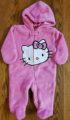 Hello Kitty Girls 3-6M Snowsuit Pink Winter Warm-Up Hooded Footed Fleece