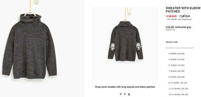ZARA BOY GREY Sweater with Elbow Patches AGE 8 YEARS OLD (128CM)