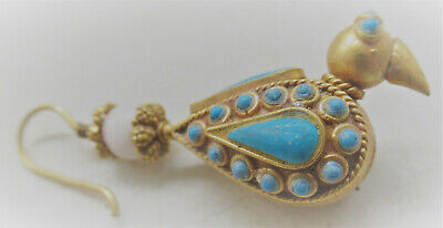 Ancient Near Eastern Gold Earring With Stones In The Form Of A Bird Very Nice