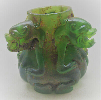 Rare Ancient Near Eastern Ceremonial Glass Vessel With 3 Protruding Beast Heads