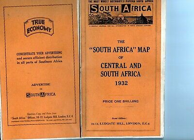 Ludgate Hill: 1932 The South Africa Map Of Central And South Africa