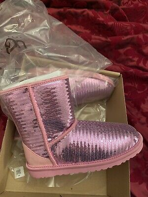 UGG Classic Short Pink  Sequin Snow Boots Ladies/ Girls  Size UK 5 BNWB