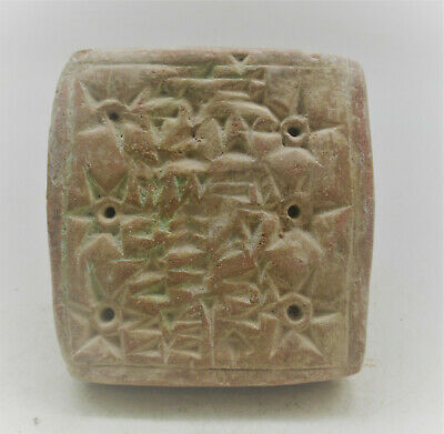 Circa 3000Bce Near Eastern Clay Seal Stamp With Early Form Of Writing & Handle