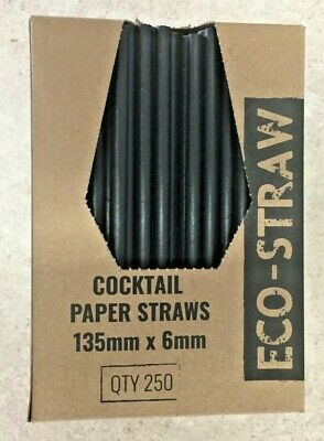 Eco-Straw Black Cocktail 3Ply Paper Drinking Straws Disposable Party Tableware