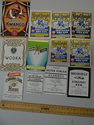12 x  COLLECTABLE SPIRIT/BEER LABELS