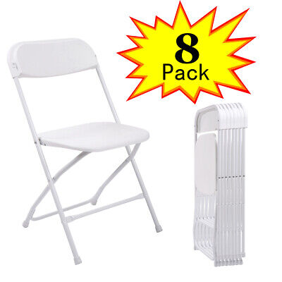8 Pack Commercial Wedding Party Event Stackable Plastic Folding Chairs White
