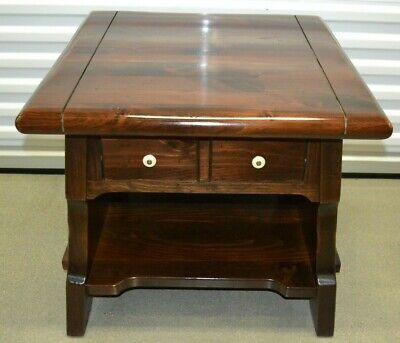 Ethan Allen Antiqued Pine Lamp Table End Table 1 Drawer Old Tavern circa 1970s