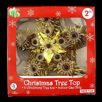 Vintage Christmas Tree Topper / Gold Tinsel Star / For Small Trees