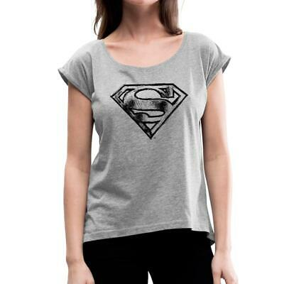 DC Comics Originals Superman Retro Logo Bunt Frauen T-Shirt mit gerollten Ärmeln