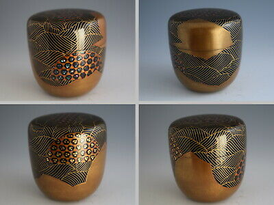 Superior Japanese Lacquer GABIONS & WATER CURRENT Makie Tea Caddy O-Natsume #161