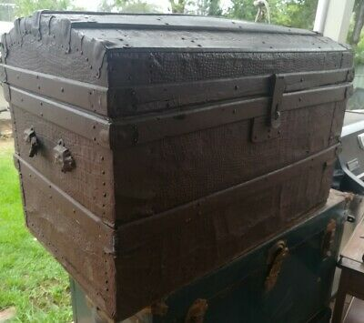 antique Alligator leather steamer trunk dome top