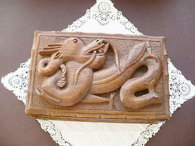 Vintage  Chinese Dragon Wood Carved  Trinket Box
