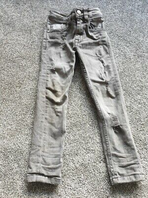 next boys grey super skinny jeans with rips 3 years