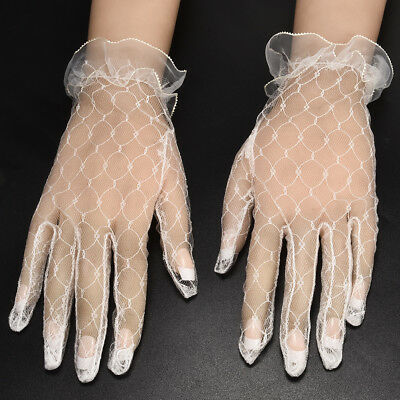 2019 Women's Lady Ivory Lace Wedding Gloves Wedding Bridal Gloves Mittens Tools