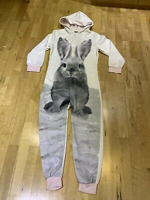 Next All In One Jumpsuit White And Pink Rabbit Print Girls Age 12 Or Size 10-12