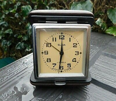 Vintage Retro SLAVA 11 Jewels Travel Alarm Clock Made in USSR Russian