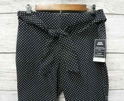 Counterparts Pants Womens 8P Black & White Polka Dot Tie Belt Stretch Ankle New