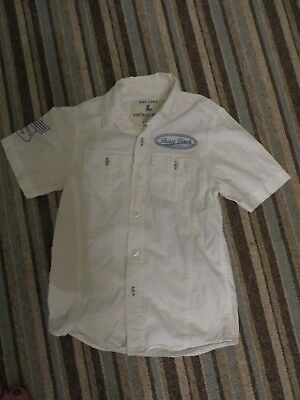 boys boy shirt top age 8-9 years short sleeved white lukes diner back & front