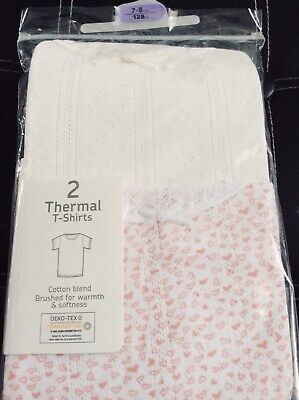 New girls pack of 2 thermal t-shirt style vests, age 7-8 years