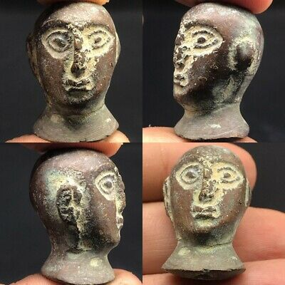 Excelllent Majestic Bactrian Emperor Ancient Bronze Bead 300 bc #A14-20