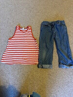 Boden Girls Top And Cropped Jean Outfit Age 7-8